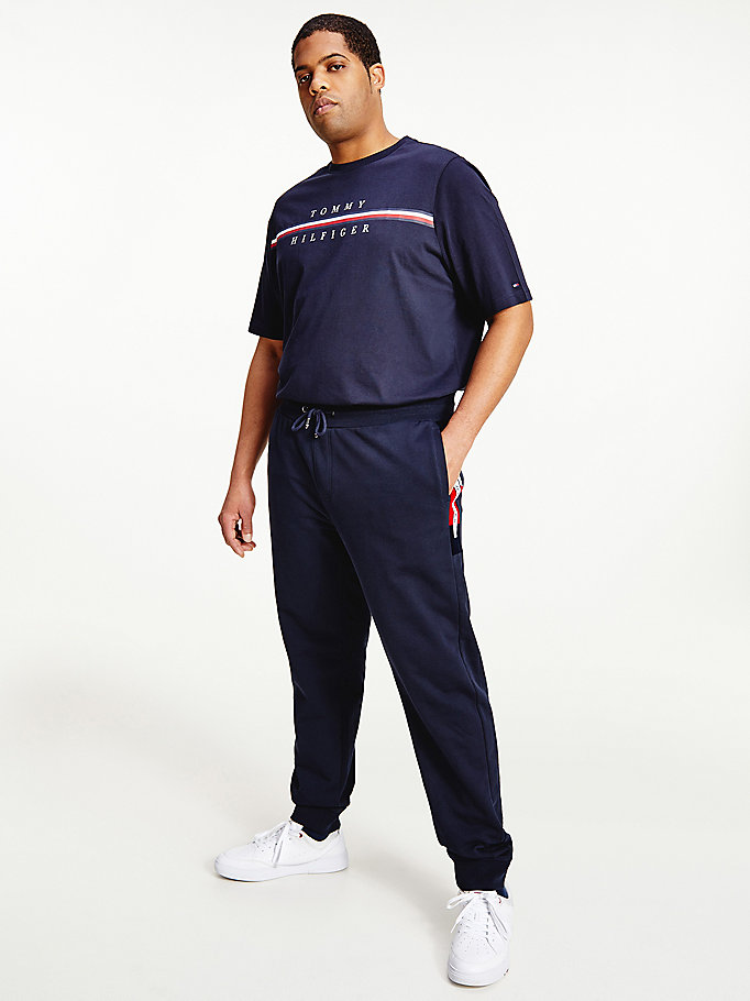 blue big & tall colour-blocked joggers for men tommy hilfiger