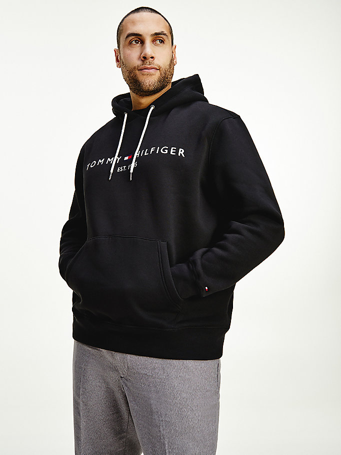 black big & tall logo drawstring hoody for men tommy hilfiger