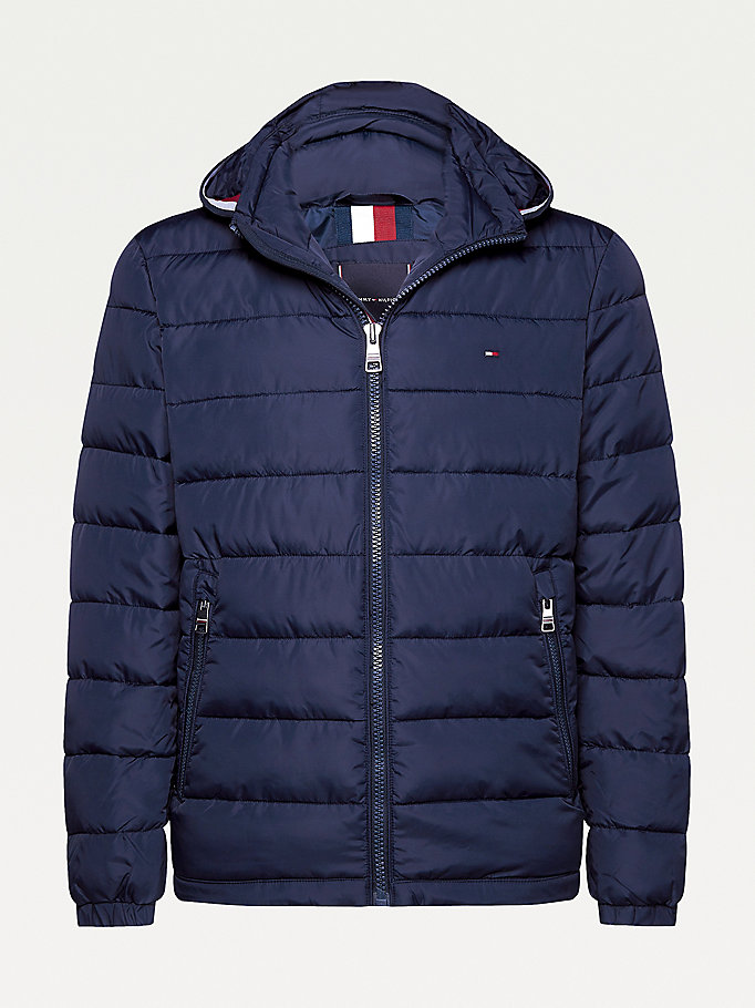 blue plus padded hooded jacket for men tommy hilfiger