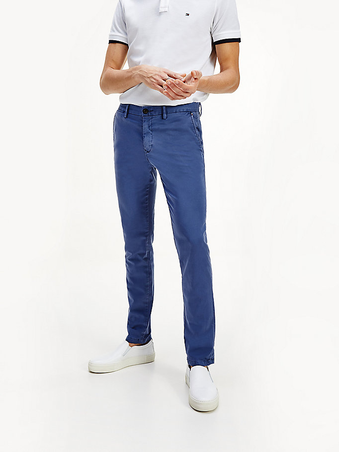 blau bleecker th flex slim fit chinos für herren - tommy hilfiger