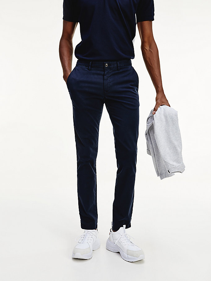 blau bleecker th flex slim fit chinos für men - tommy hilfiger