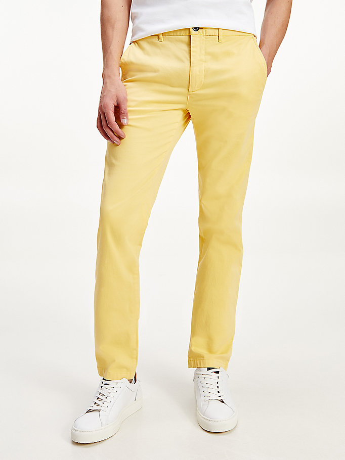 geel bleecker th flex slim fit chino voor men - tommy hilfiger