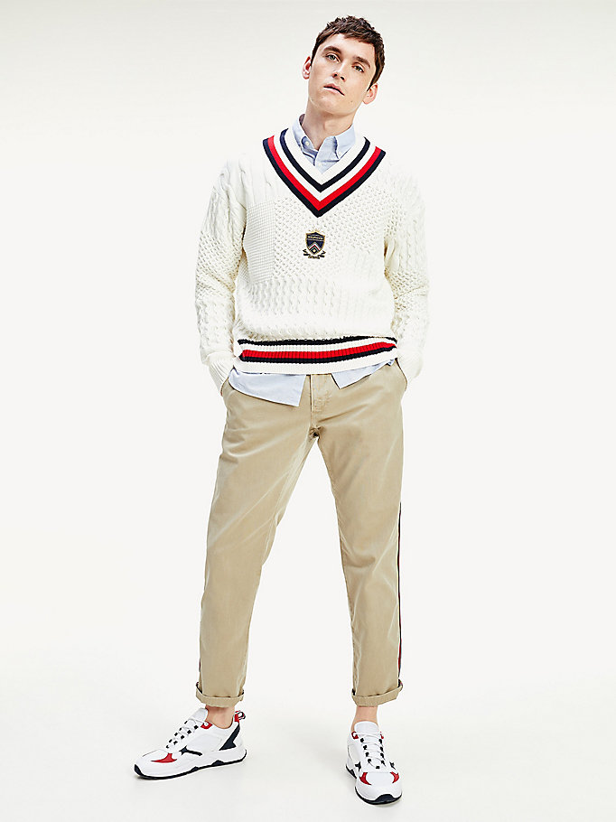 khaki garment-dyed stretch cotton chinos for men tommy hilfiger