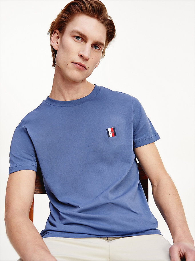 blauw essential regular fit t-shirt met monogram voor heren - tommy hilfiger