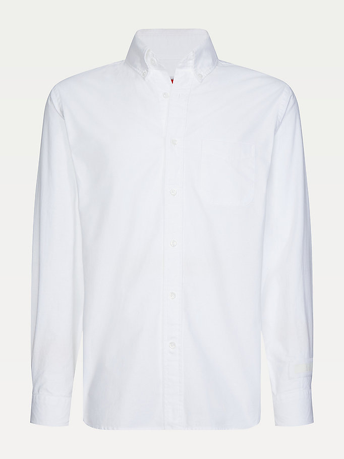 camicia lewis hamilton in cotone oxford bianco da men tommy hilfiger
