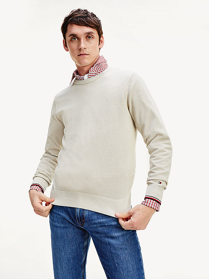 beige contrast crew neck jumper for men tommy hilfiger