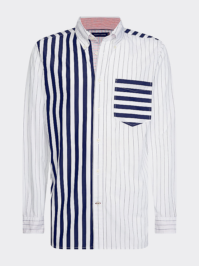 blue mixed stripe shirt for men tommy hilfiger