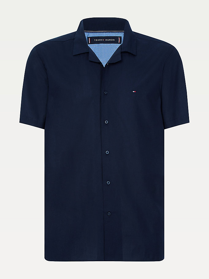 blue cotton poplin regular fit hawaiian shirt for men tommy hilfiger