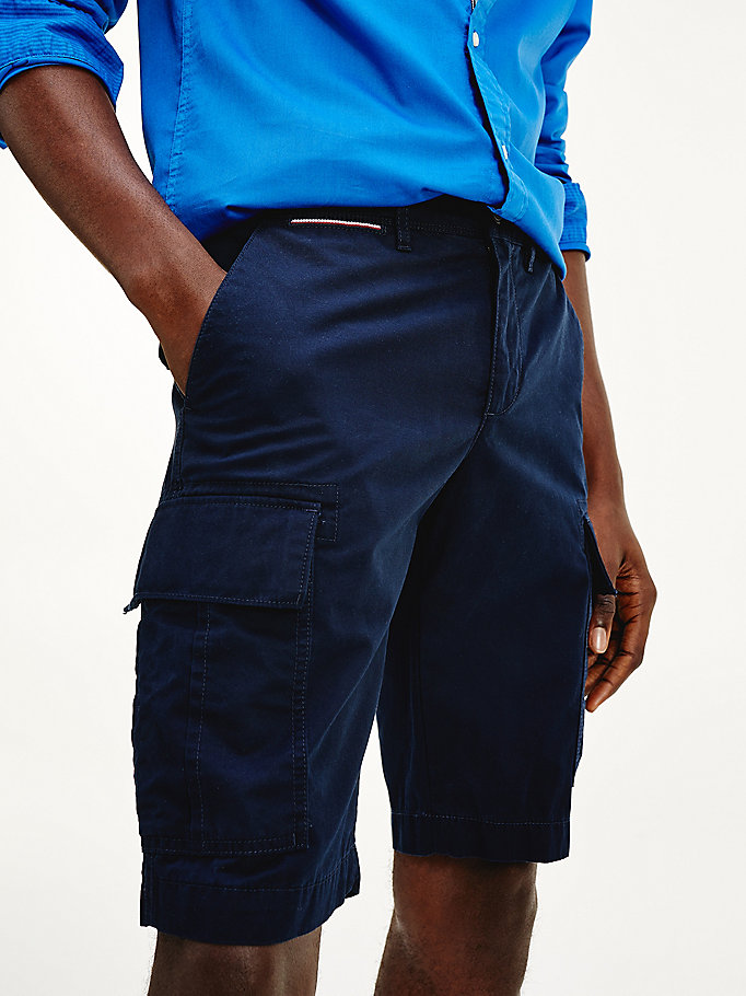 blue lightweight organic cotton cargo shorts for men tommy hilfiger