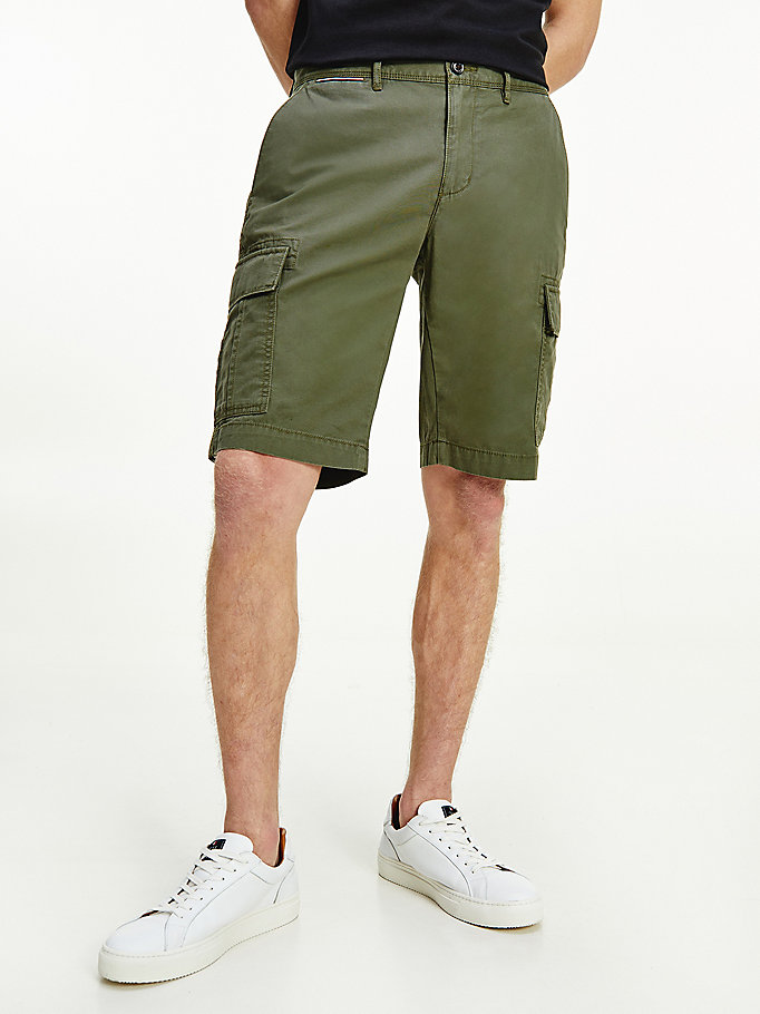 khaki lightweight organic cotton cargo shorts for men tommy hilfiger