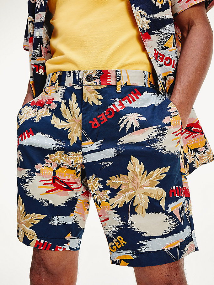 blue th flex print shorts for men tommy hilfiger