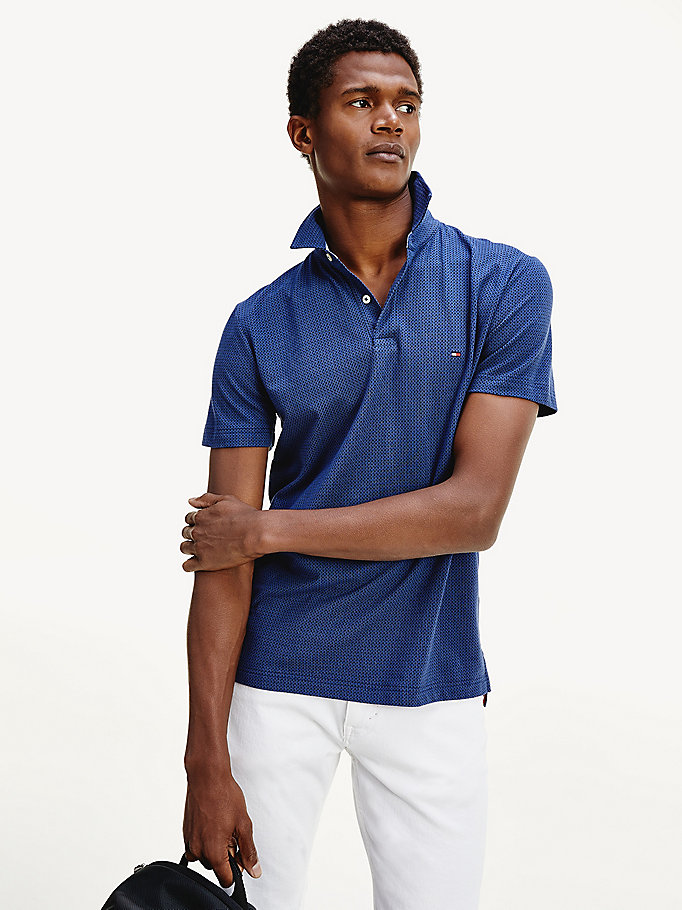 blue small dot print regular fit polo for men tommy hilfiger