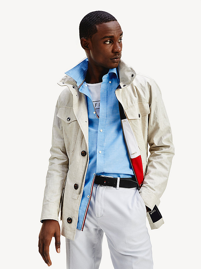 beige linen airfield jacket for men tommy hilfiger