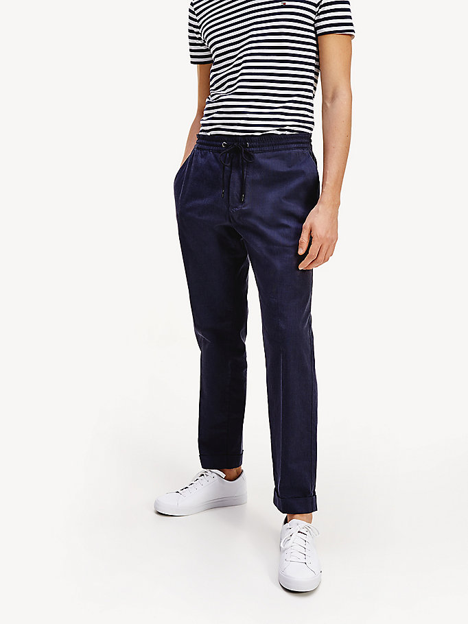 grey yarn dyed tapered trousers for men tommy hilfiger