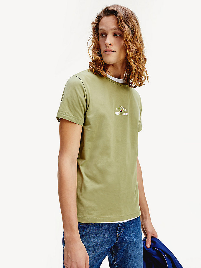 green organic cotton logo t-shirt for men tommy hilfiger