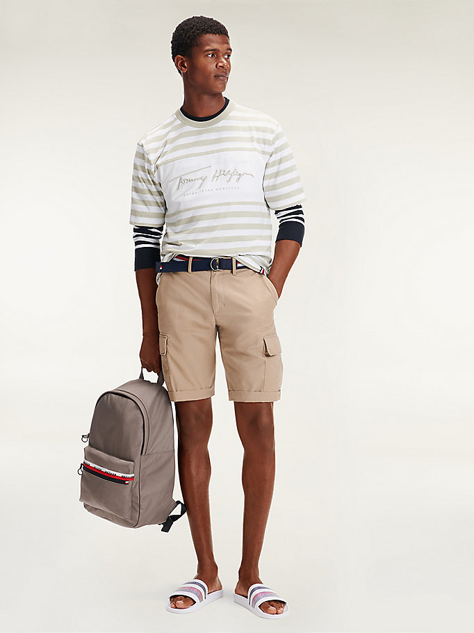 beige lightweight twill cargo shorts for men tommy hilfiger