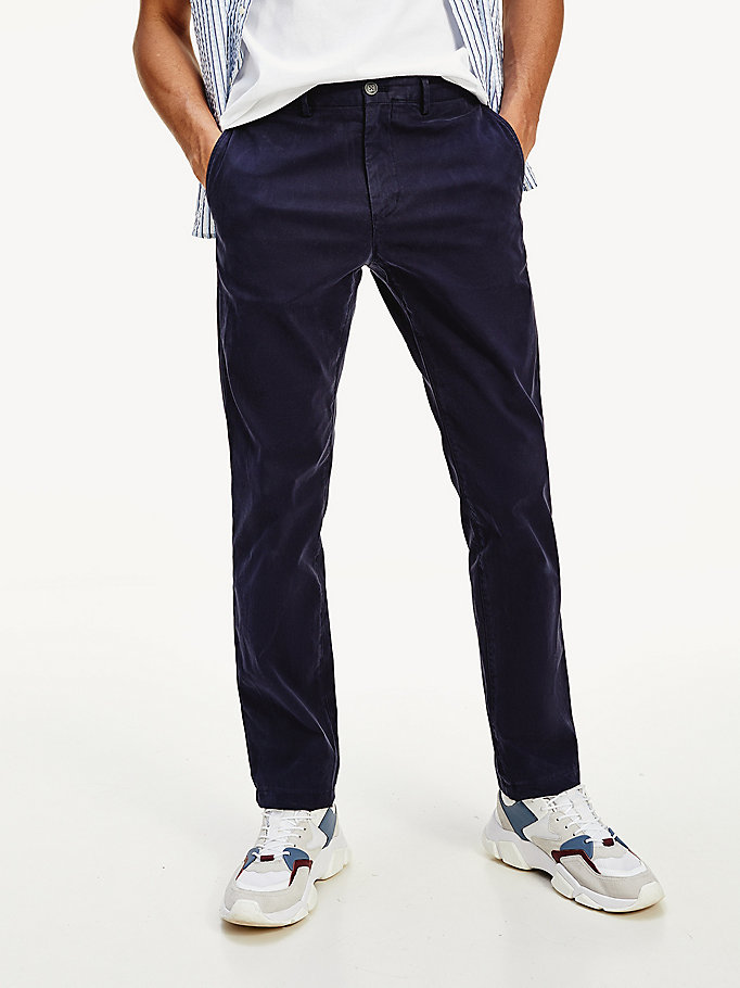 blue denton straight fit trousers for men tommy hilfiger