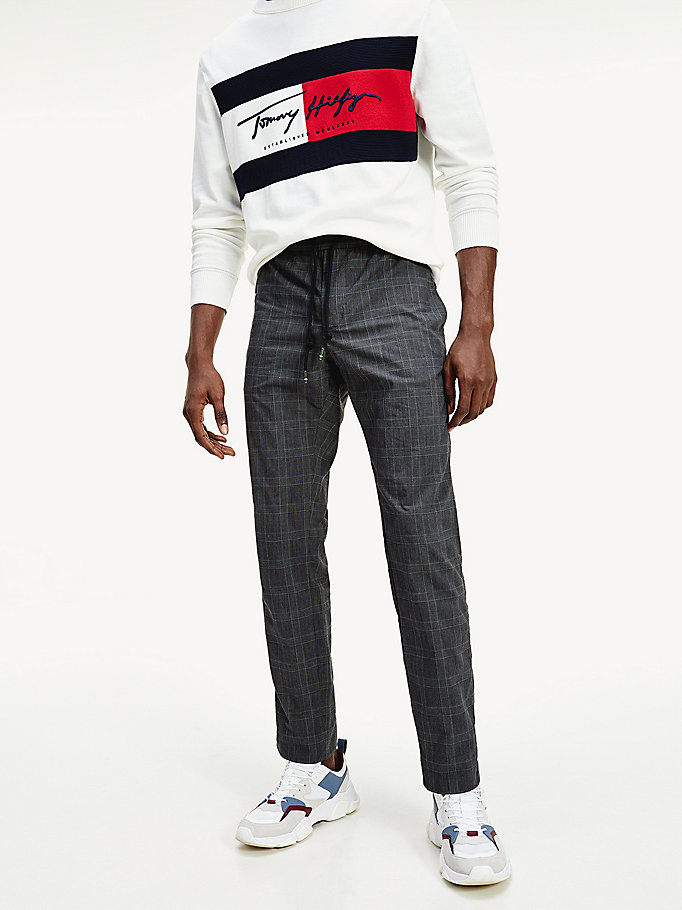 grey check drawstring tapered trousers for men tommy hilfiger