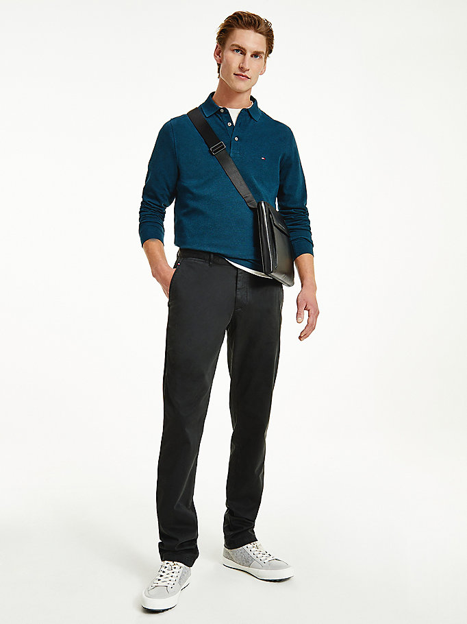 black denton th flex straight fit trousers for men tommy hilfiger