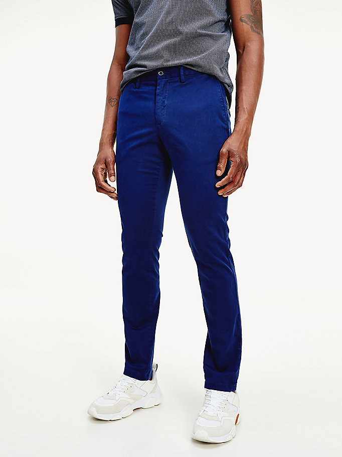 blue bleecker th flex slim fit trousers for men tommy hilfiger
