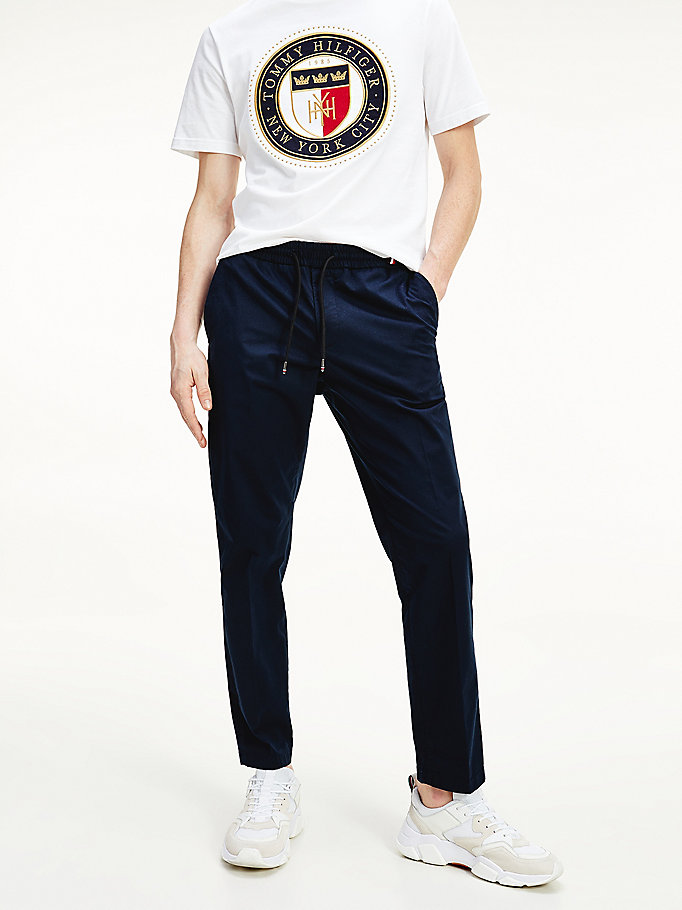 blue soft touch tapered trousers for men tommy hilfiger