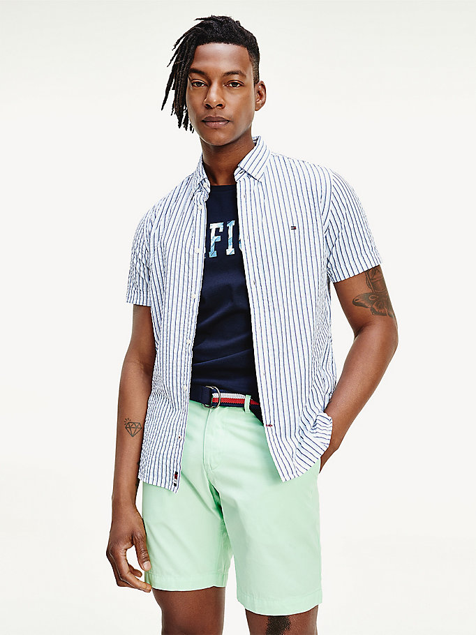 blue stripe seersucker short sleeve shirt for men tommy hilfiger