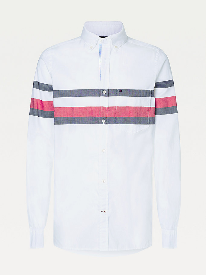 white statement stripe slim fit shirt for men tommy hilfiger