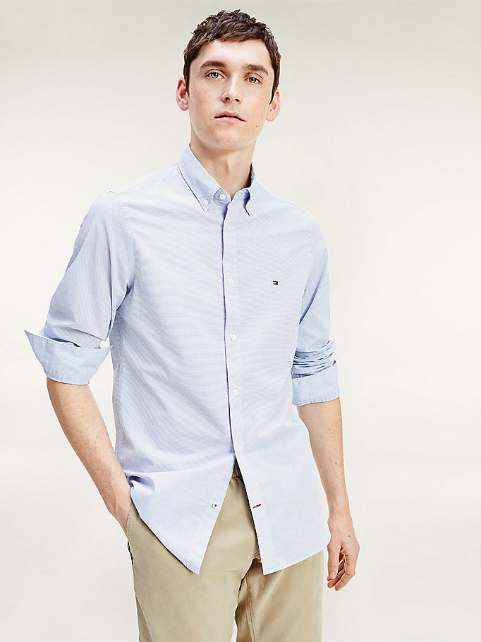 blue micro stripe slim fit cotton shirt for men tommy hilfiger