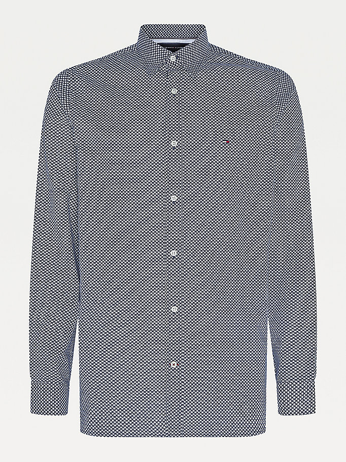 blue th flex micro geometric print shirt for men tommy hilfiger