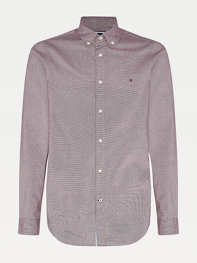purple micro houndstooth slim fit shirt for men tommy hilfiger
