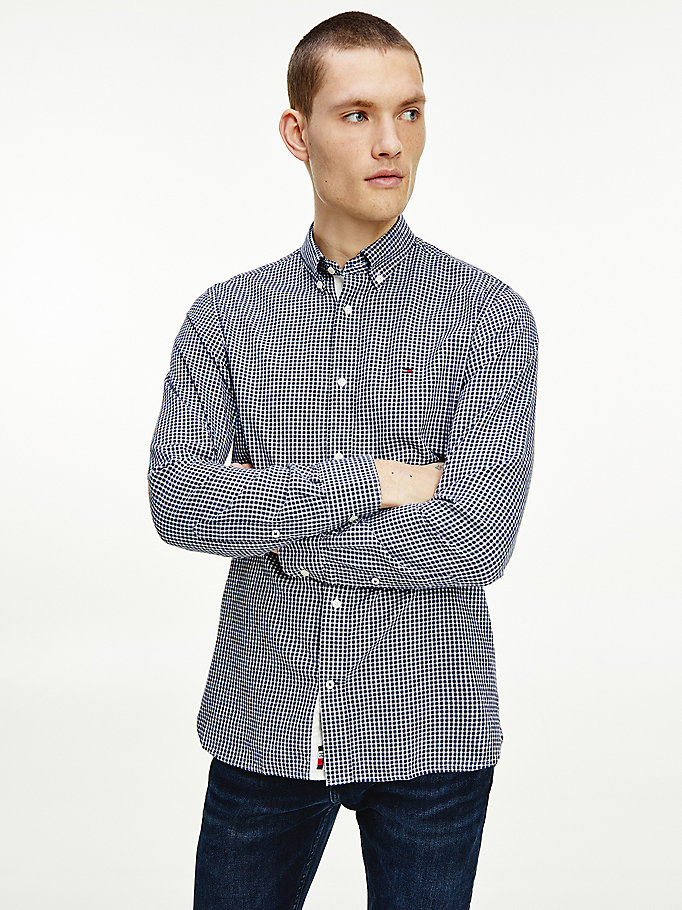 blue cashmere blend gingham check shirt for men tommy hilfiger