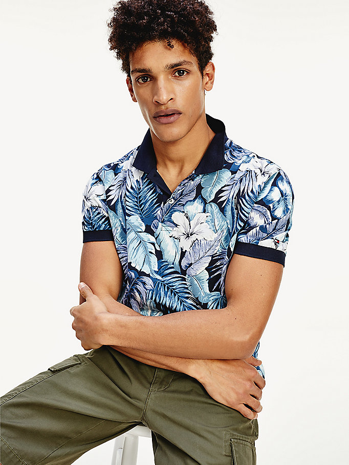 blue tropical print regular fit polo for men tommy hilfiger