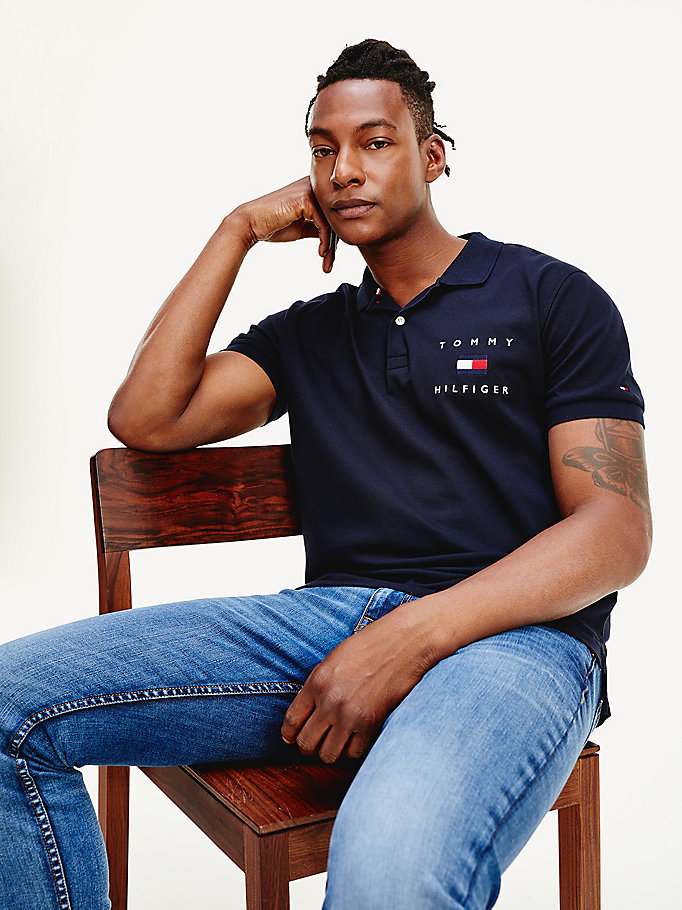 blue logo embroidery regular fit polo for men tommy hilfiger