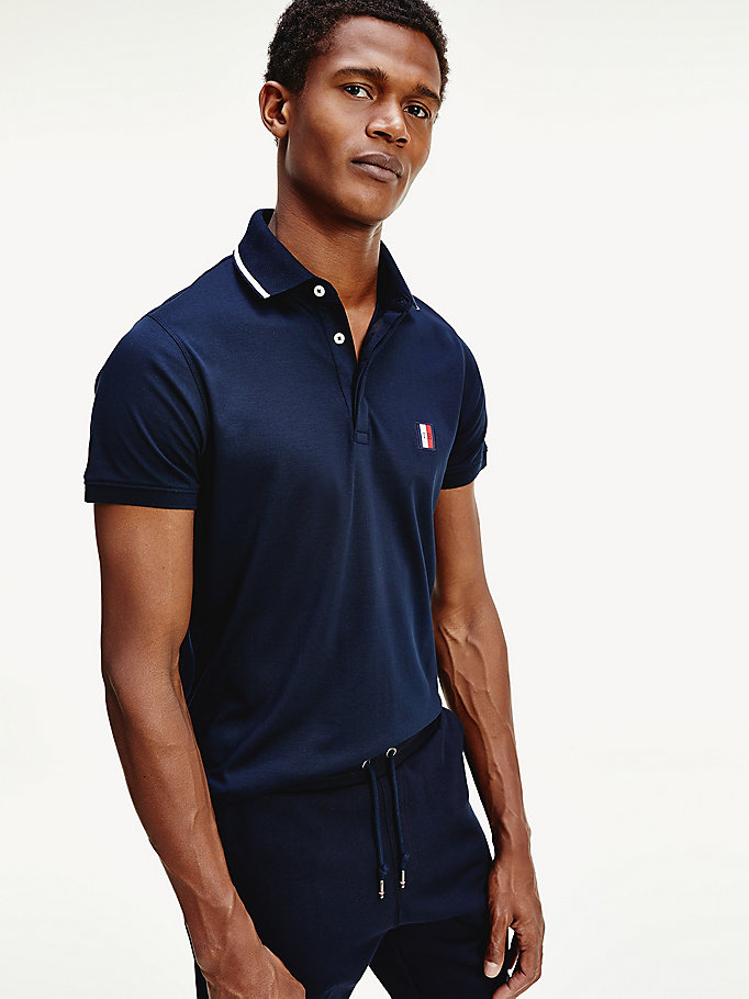 blue monogram jersey slim fit polo for men tommy hilfiger