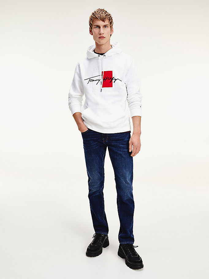 white th signature logo embroidery hoody for men tommy hilfiger