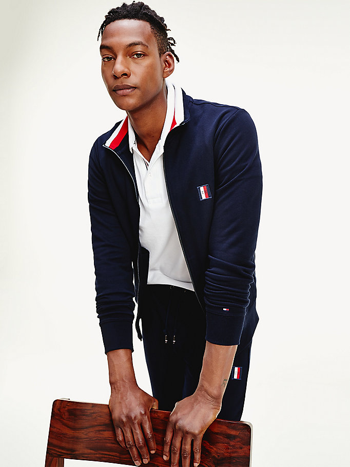 blue monogram badge zip-thru sweatshirt for men tommy hilfiger