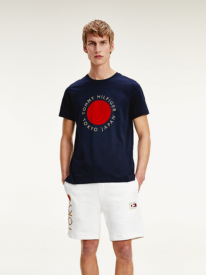 blue tokyo th cool cotton t-shirt for men tommy hilfiger