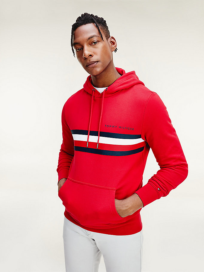 red logo print hoody for men tommy hilfiger
