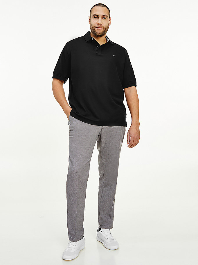 black big & tall pure cotton regular fit hilfiger polo for men tommy hilfiger