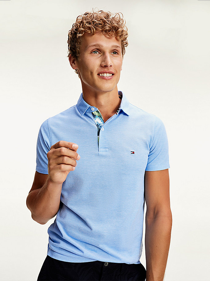 blue printed slim polo for men tommy hilfiger