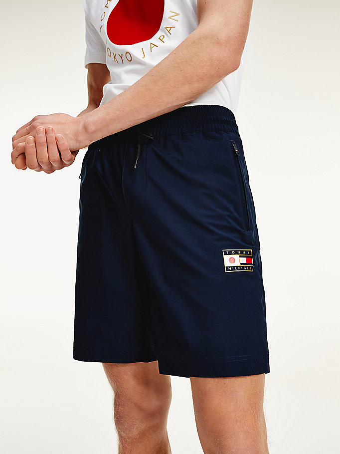 blue tokyo flag logo shorts for men tommy hilfiger