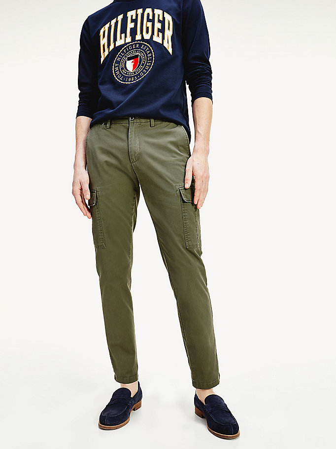 khaki lightweight twill cargo trousers for men tommy hilfiger