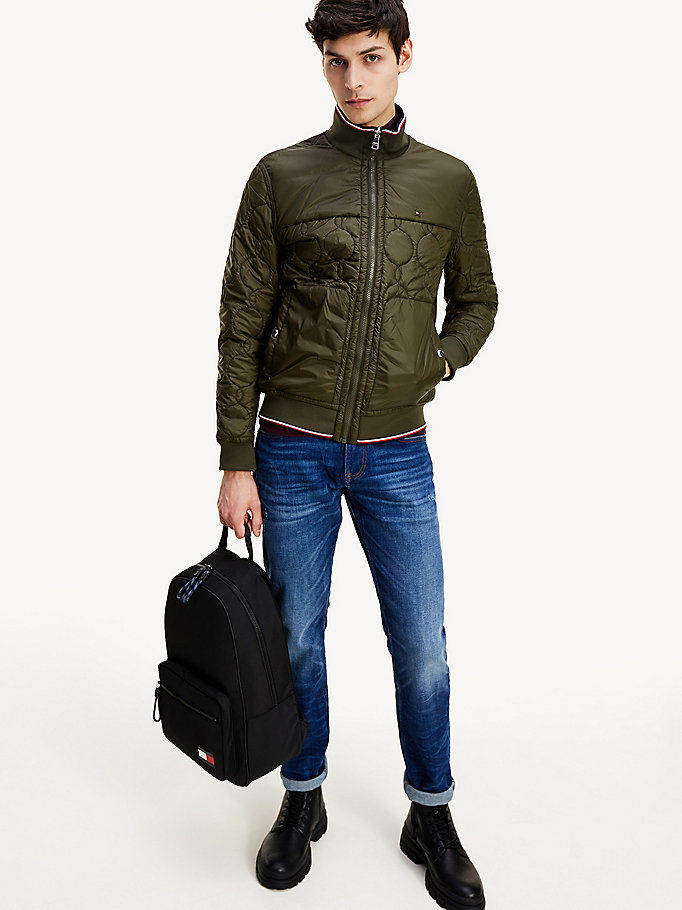 green reversible circle quilted bomber jacket for men tommy hilfiger