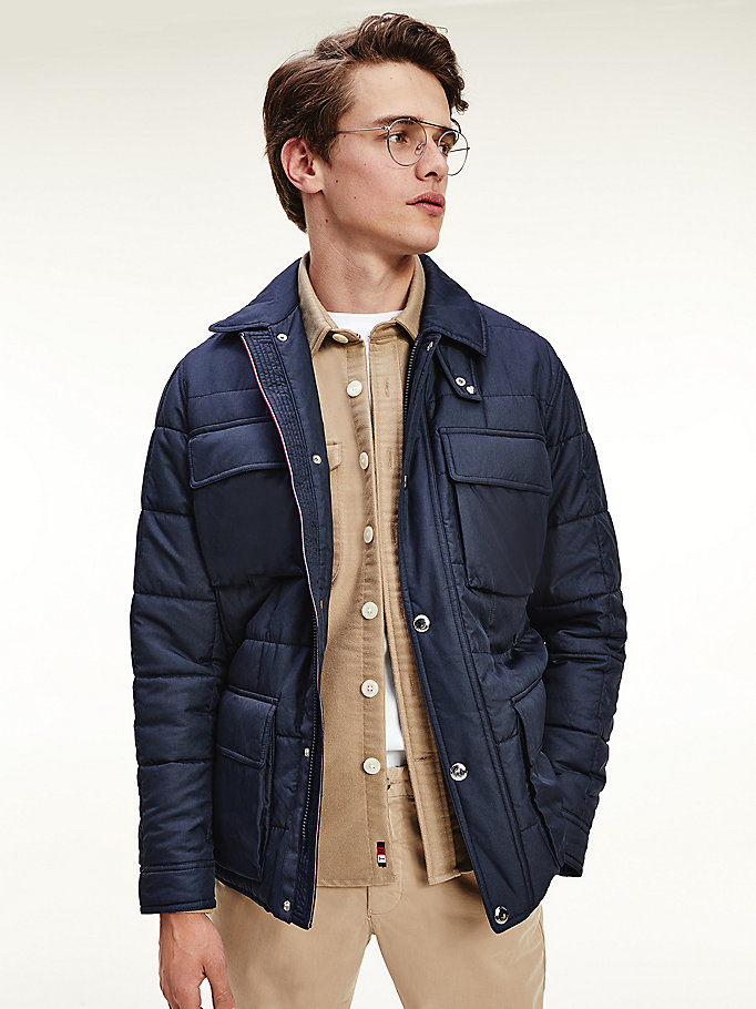 blue quilted multi pocket jacket for men tommy hilfiger