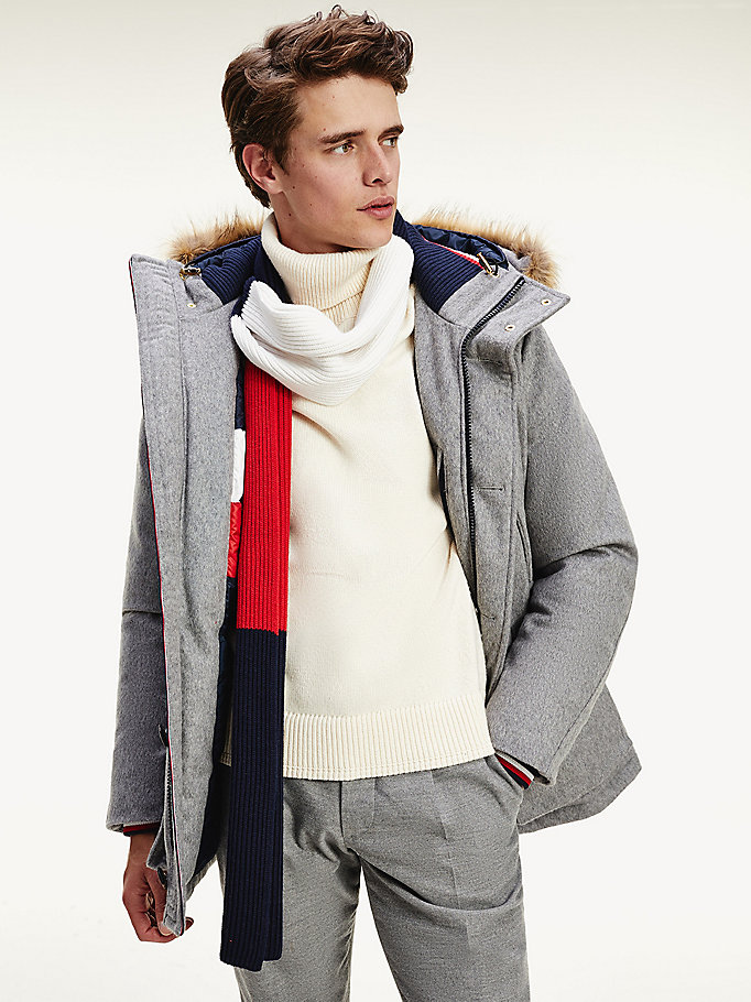 grey hampton wool down parka for men tommy hilfiger
