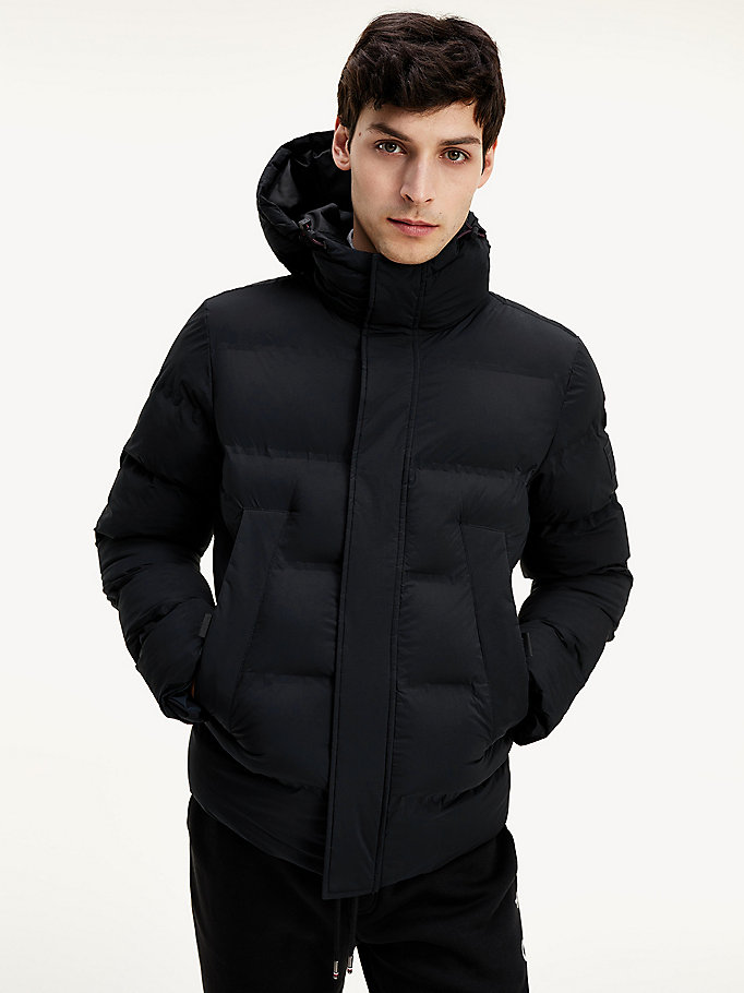 black padded hooded stretch bomber jacket for men tommy hilfiger