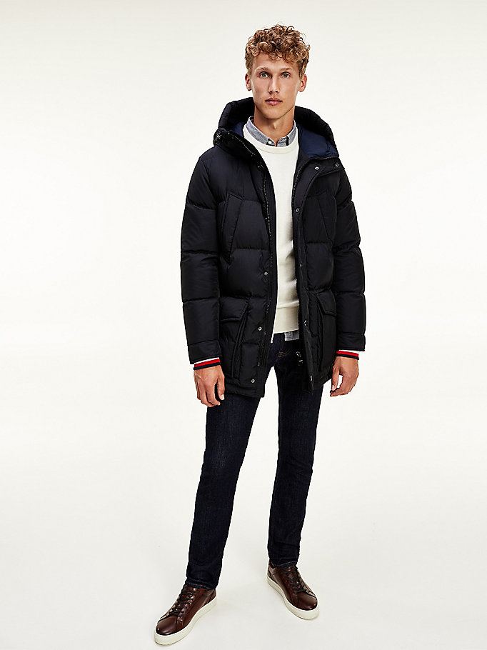black water repellent down parka for men tommy hilfiger