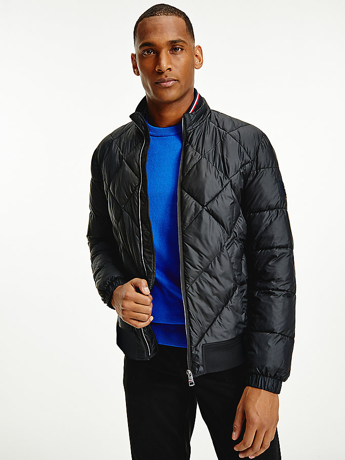 black diamond padded down bomber jacket for men tommy hilfiger