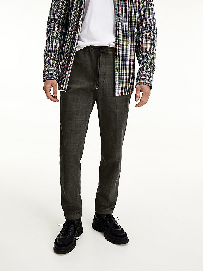 grey prince of wales check trousers for men tommy hilfiger