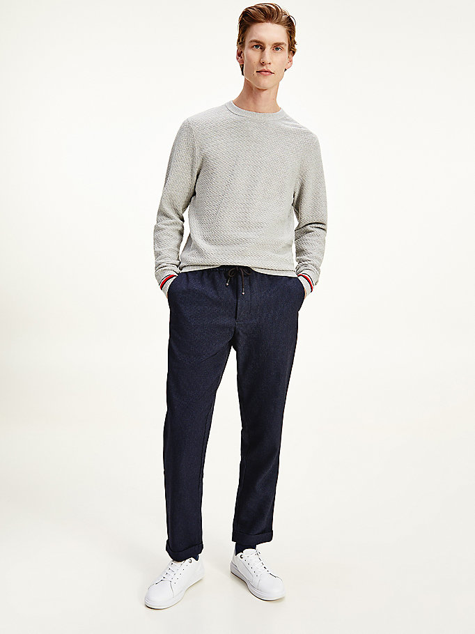 blue puppytooth tapered fit trousers for men tommy hilfiger